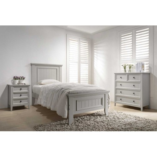 Mila Panelled Bed 3' - Clay
