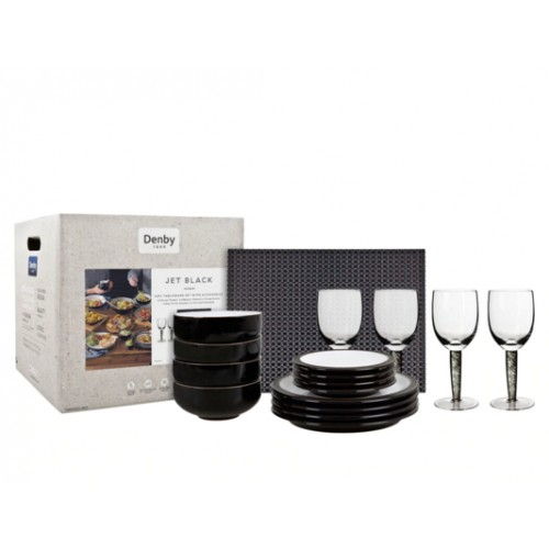 DENBY Jet 12pc Dining Set with Glass and Accessories