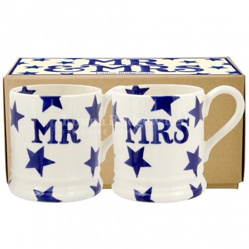 Emma Bridgewater Blue Star Mr & Mrs Set of 2 1/2 Pint Mugs Boxed