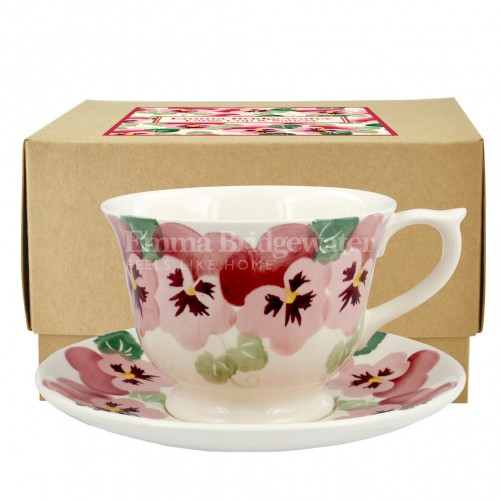 Emma Bridgewater Pink Pansy Large Teacup & Saucer Boxed