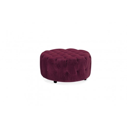 Darby Round Footstool - Berry