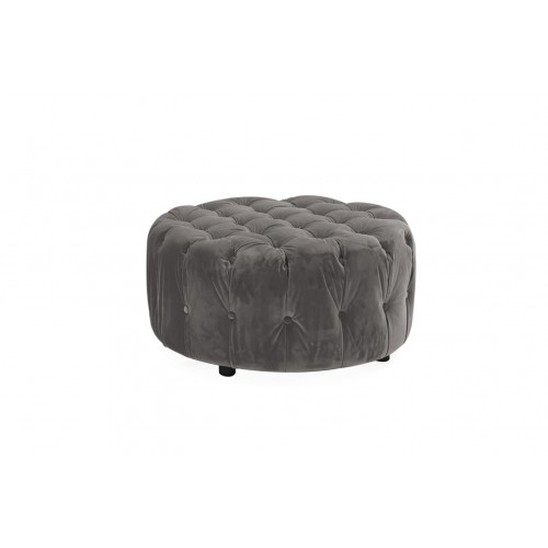 Darby Round Footstool - Grey