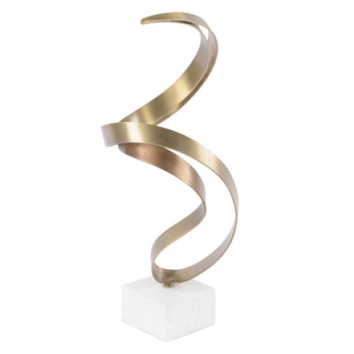 Libra brass abstract swirl sculpture on stone base