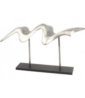 Libra silver aluminium long wave sculpture