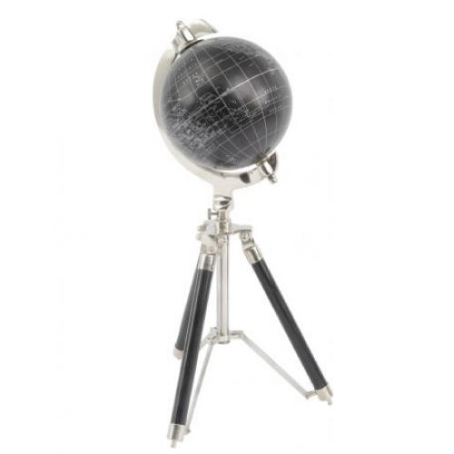 Libra black globe on aluminium and wood tripod stand