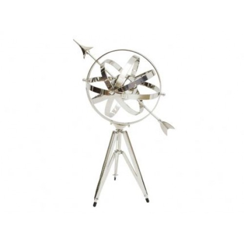 Libra armillary large nickel plated tripod base
