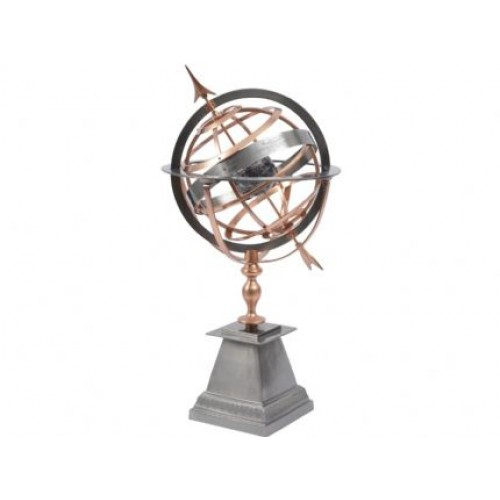 Libra satin grey and copper armillary