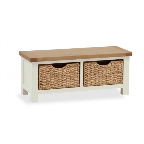COUNTRY CREAM Bench with baskets