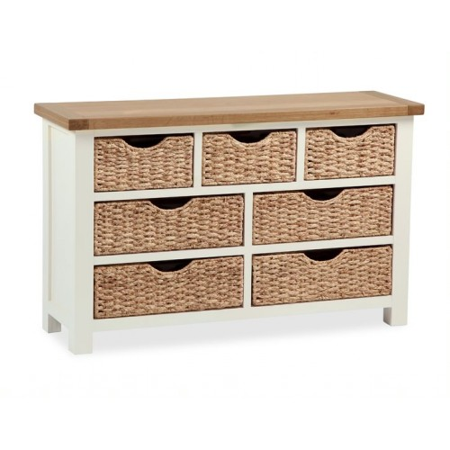 COUNTRY CREAM CONSOLE with baskets