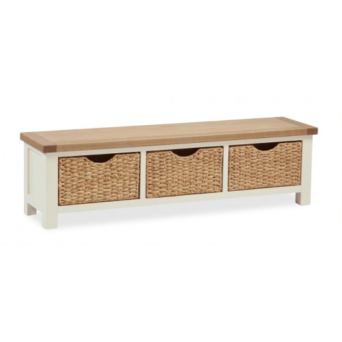 country cream large bench with baskets