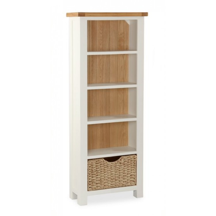 Country Cream Small Bookshelf With Baskets