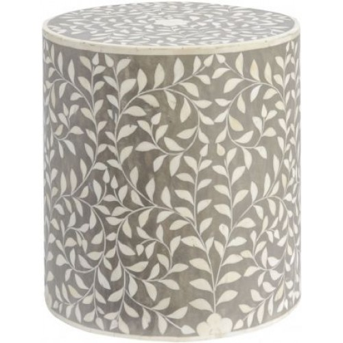 Libra petals mid grey bone inlaid round stool