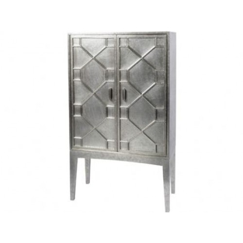 Libra astor hand embossed metal bar cabinet