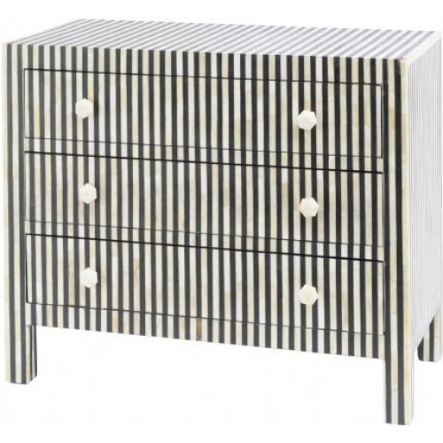 Libra bone inlay humbug 3 drawer chest