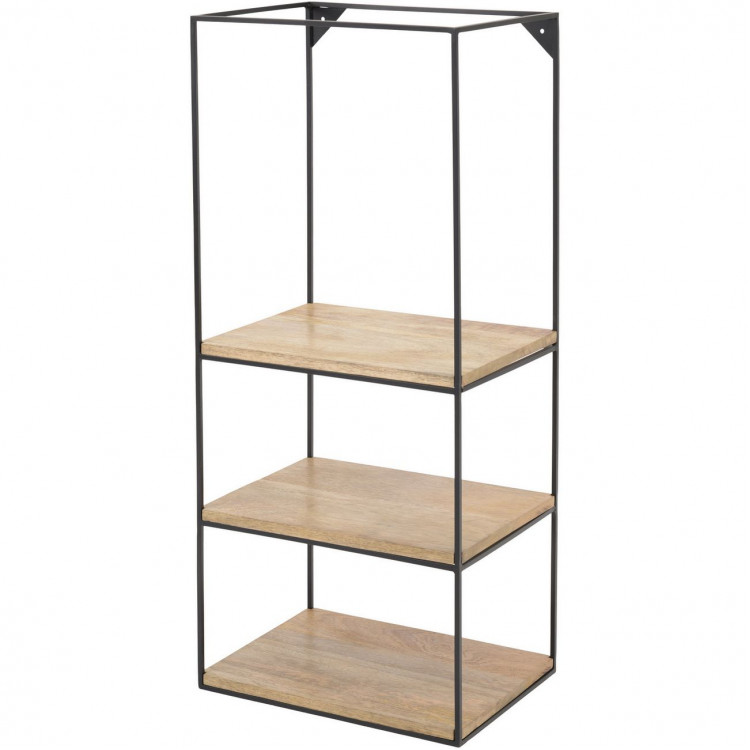Libra Kempsey Wood And Iron 3 Shelf Wall Unit