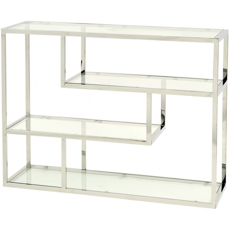 Libra Linton Stainless Steel And Glass Small Modular Shelving Unit