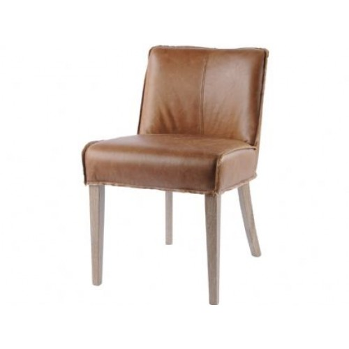 Libra antique tan top grain leather dining chair