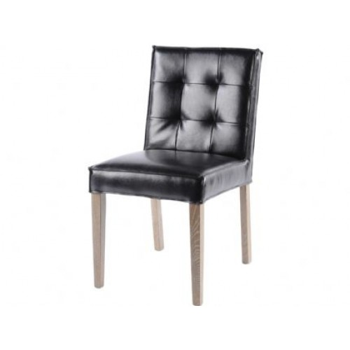 Libra black button back dining chair