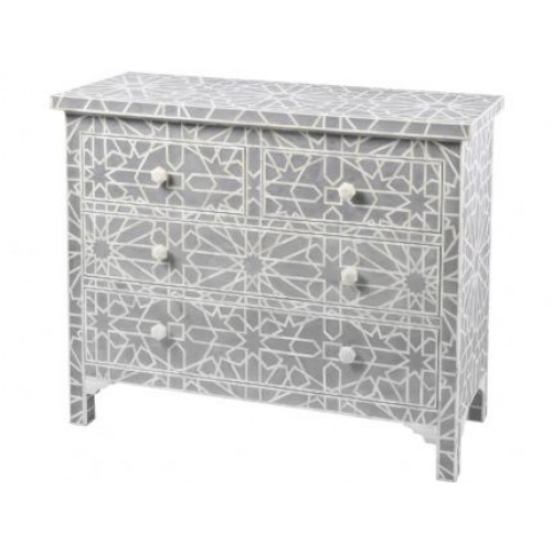 Libra floreat mottled blue grey bone inlaid 4 drawer chest