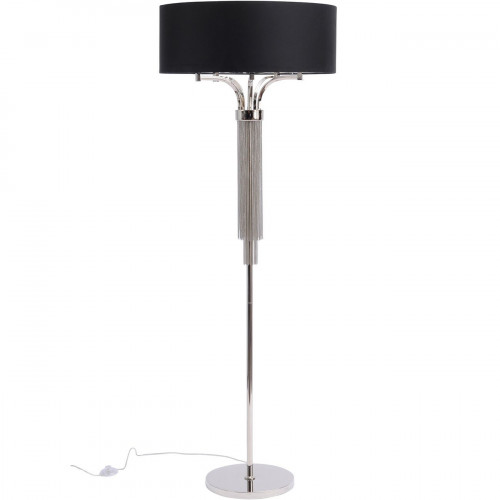 Libra Langan Floor Lamp In Nickel With Black Shade