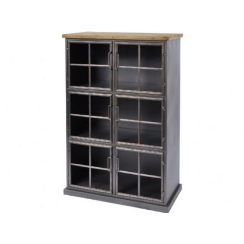 Libra moresby 6 door wood and iron cabinet