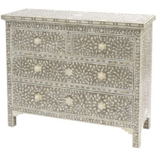 Libra petals grey bone inlaid 4 drawer cabinet
