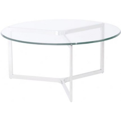 Libra linton stainless steel and glass coffee table